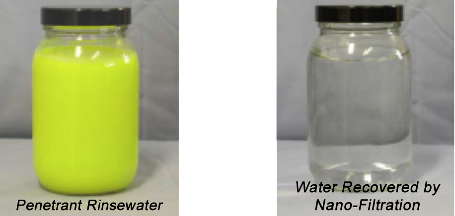 Water sample example of Penetrant Rinsewater filtered to Water Recovered by Nano-Filtration